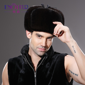 Image 3 - Winter Warm Real Hele Mink Fur Hoed Voor Man Oor Protector Cap Excellente Kwaliteit Vakmanschap Hoed Nieuwe Aankomst