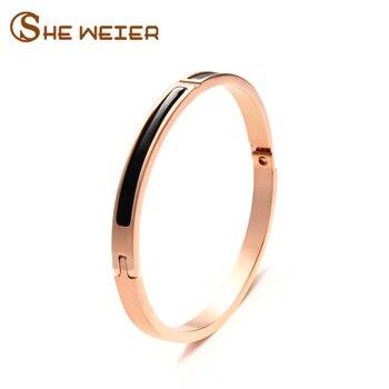 8d0d39f78f5f Ella WEIER Simple de acero inoxidable pulsera y brazaletes de oro rosa pulseras  para las mujeres Armbanden Voor Vrouwen