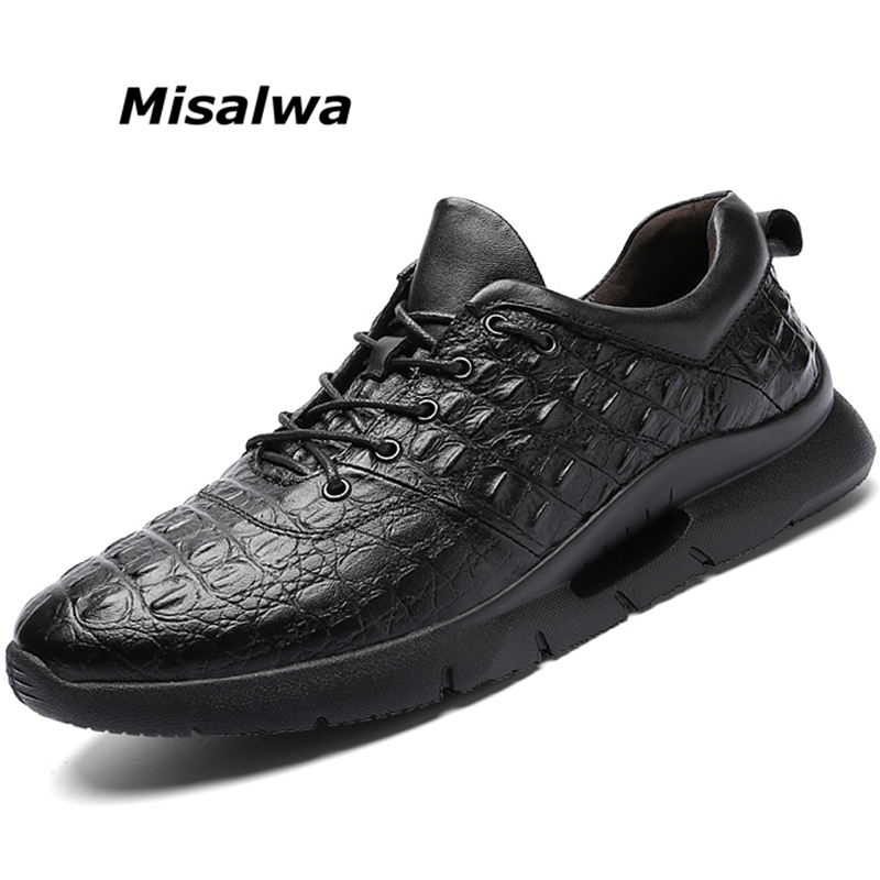 Misalwa British Fashionable Crocodile Pattern Male Sneakers Lace-up Mens Luxury Designer Shoes Genuine Leather Casual LoafersMisalwa British Fashionable Crocodile Pattern Male Sneakers Lace-up Mens Luxury Designer Shoes Genuine Leather Casual Loafers