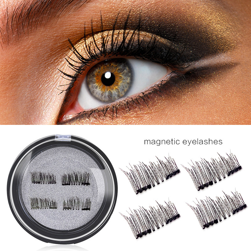 4Pcs/set 3D Double Magnetic Eyelashes Natural Beauty No Glue Reusable Extension Full Strip Magnetic Hair Fake Eye Lashes Make Up