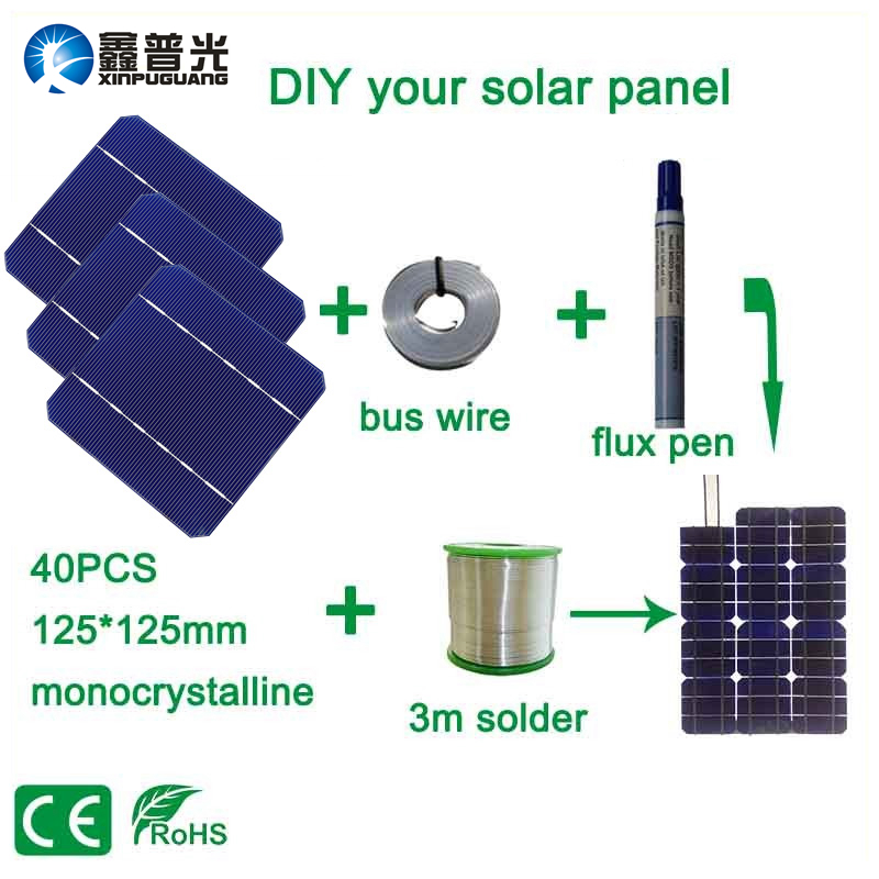 Xinpuguang <font><b>100W</b></font> <font><b>DIY</b></font> Solar Panel Kits with 125*125mm Monocrystalline Solar Cell Use Flux Pen+Tab Wire+Bus Wire for <font><b>DIY</b></font> Solar image