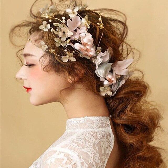 Vintage Design Yarn Feather Studio Hair Accessories Bridal Clips Pins Women Flower Head Piece