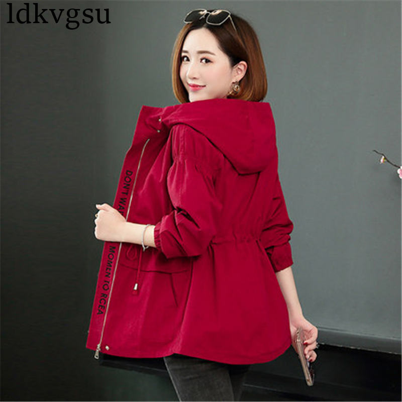 New Fashion Short Jacket Female Korean 2020 Spring Autumn Women's Coats Casual Hooded Windbreaker Tops Outerwear V419