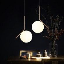 Современные светодиодные металлические подвесные светильники кованого железа стеклянный круглый шар латунный стержень подвесной светильник для жизни Roomcafekitchen Nordic освещения