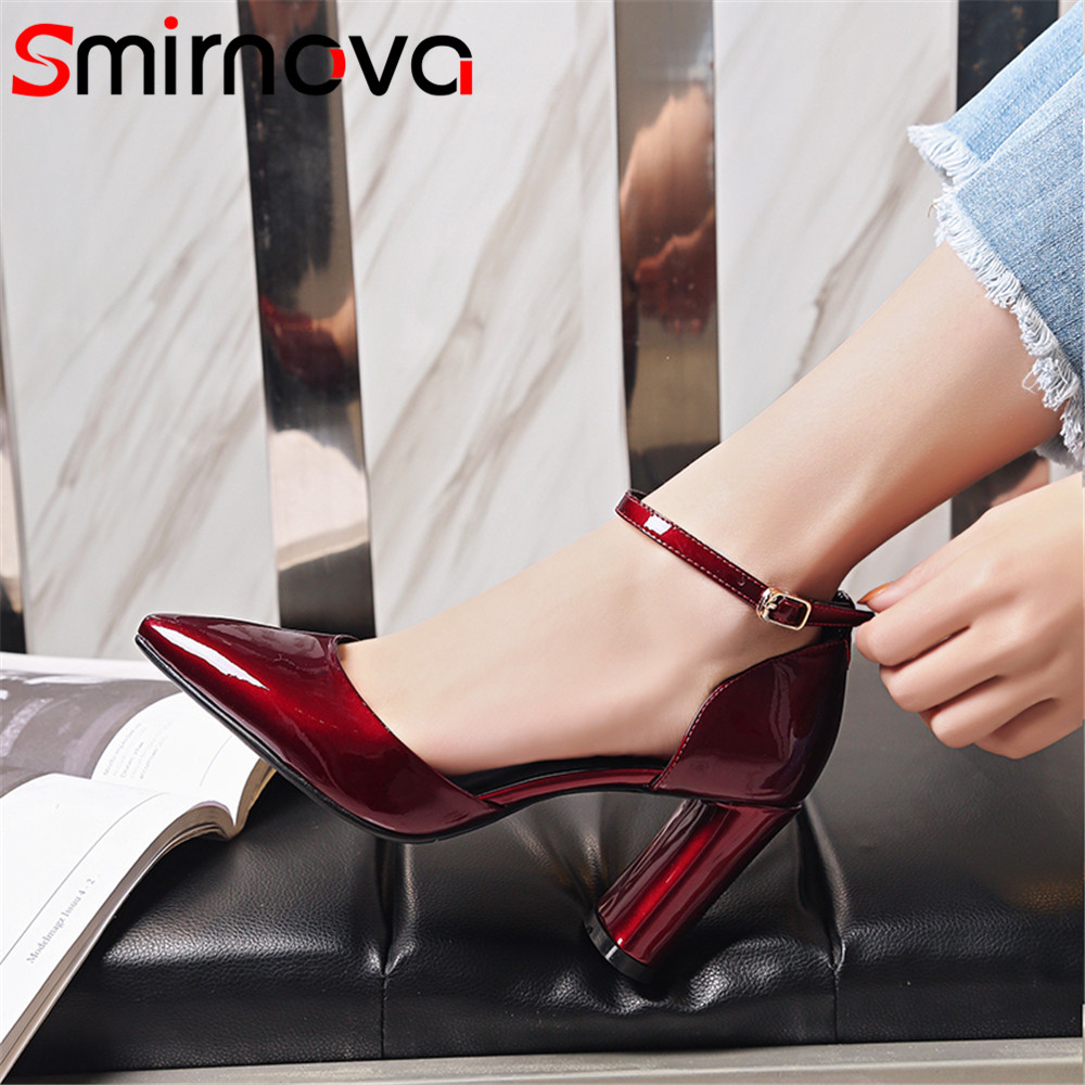 Smirnova 2018 fashion new shoes woman pointed toe buckle elegant pumps women wedding shoes genuine leather high heels shoes creativesugar elegant pointed toe woman