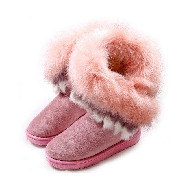 Otoño Invierno Cálido altas botas de nieve artificial largas zorro conejo borla de cuero de piel corto de algodón acolchado zapatos de las mujeres envío gratis