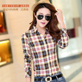 Cultivating long-sleeved plaid shirt stitching cotton plaid shirt female