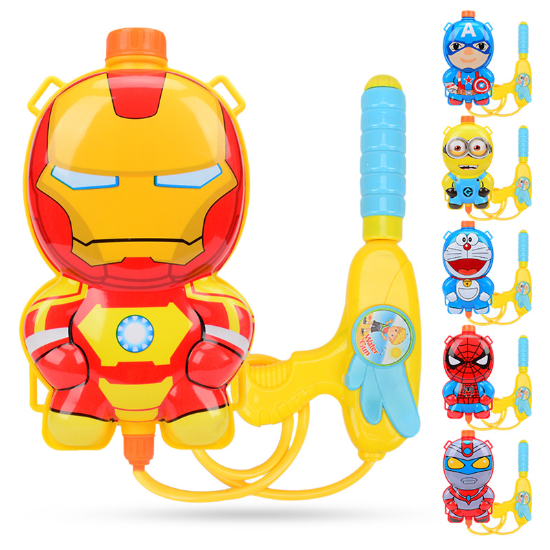 Summer Toy Water Gun & Boy & Girl High Pressure Water Gun & Baby Playing Water Beach Toys Children's Cartoon Backpack Water Gun
