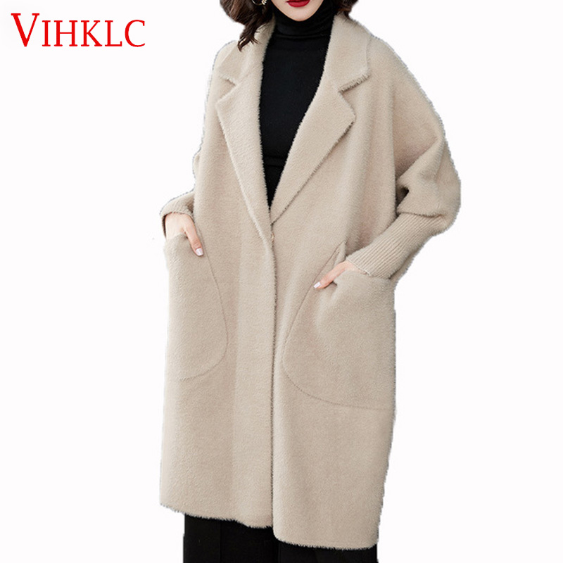 2019 New Women Winter Warm Faux Mink Cashmere Coat Cardigan Loose Long Warm Sknit Coat C581
