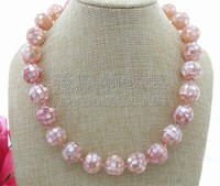 N030910 Natural 16MM Pink Mother Of Pearl Necklace