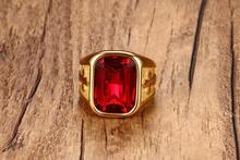 Модные ювелирные изделия кольцо золотого цвета с красным кубическим