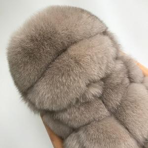 Image 5 - Natural Mulheres Capa Colete de Pele De Raposa Genuína Pele De Raposa Casaco Sem Mangas Com Capuz Completa Pelt Mulheres Reais Fox Fur Gilet com capuz de pele