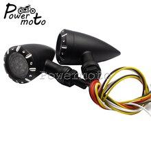Мотоцикл черный ретро пуля красный светодио дный желтый светодиодный указатель поворота Стоп-сигнал бег Blink свет для Harley Dany Bobber Honda