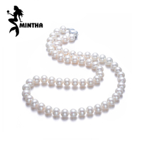 MINTHA Pearl Jewelry Natural Pearl Necklace 7 9mm Oval Pearl Necklace For Women CLASSIC Necklace Choker