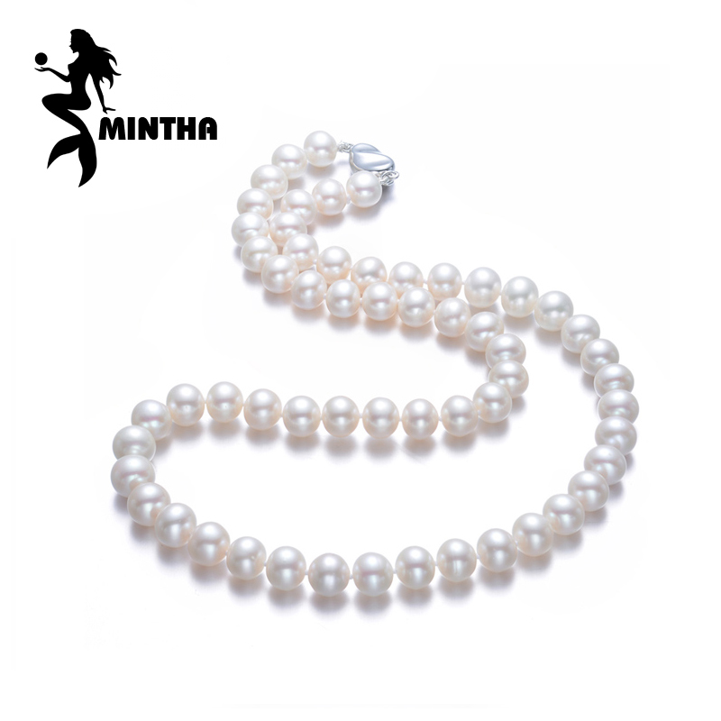 MINTHA Pearl Jewelry,natural pearl necklace 7-9mm,oval pearl necklace for women CLASSIC Necklace choker necklace Christmas gift a suit of chic fake pearl rhinestone oval necklace and earrings for women
