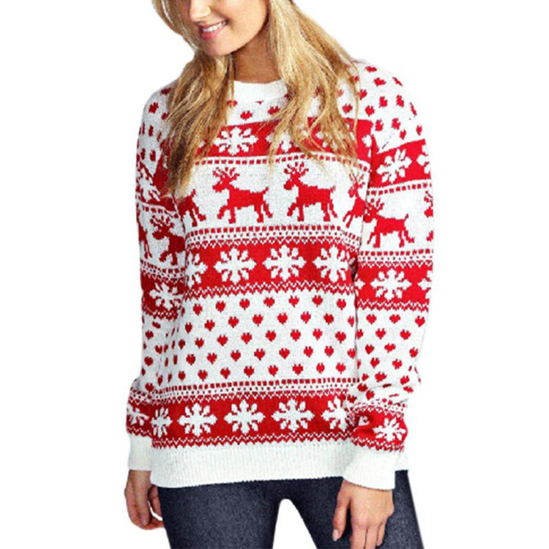 Christmas Women Jesus Print Sweaters Long Sleeve Autumn Winter O-Neck Deer Printed Slim Pullover Sweater New Year Tops