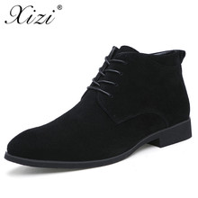 Xizi New Winter Men Boots High Quality Genuine Leather Ankle With Fur British Style Solid Lace-up Motorcycle