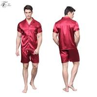 Men S Silk Pajama A Sets Short Sleeve Shirts With Elastic Waist Sleepwear Loungewear Classical Style