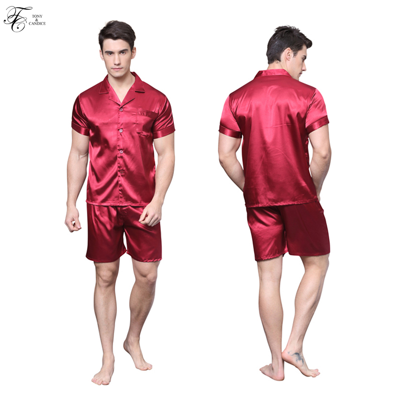 Tony&Candice Silk Pajamas For Men Satin Silk Sleepwear Short Sleeves Male Pajama Set In Summer Soft Nightgown For Men pyjama