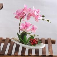 Kunstbloemen Keramische vaas kunstmatige orchidee ingemaakte hoge simulatie nep bloem home hotel nep bloem decoratie