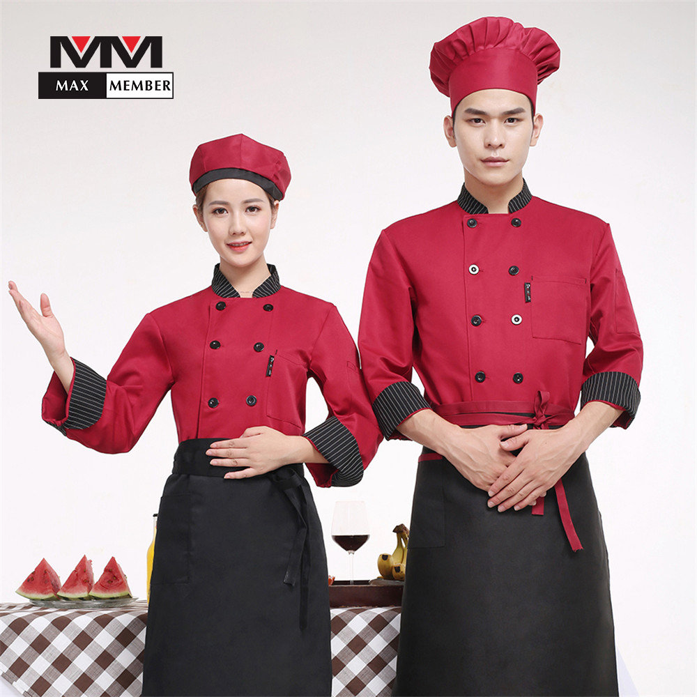 M-3XL Unisex Striped Collar Long Sleeves Autumn Restaurant Chef Kitchen Cook Working Uniforms Double Breasted Pocket Jacket Top
