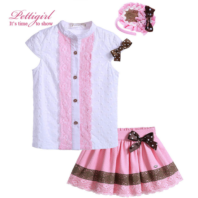 Pettigirl Boutique Girls Clothing Set Short Sleeve Girls Outfit White Tops Bow Pink Skirt For Summer Kids Clothing G-DMCS905-786