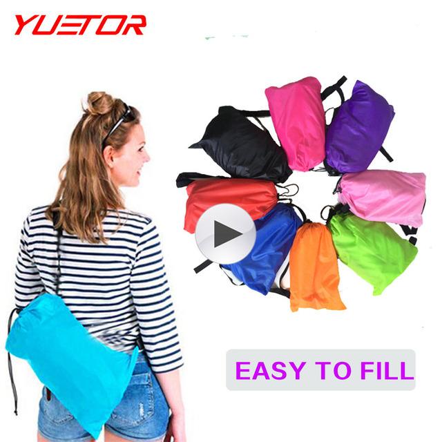 Yuetor 5 Drop ship Bãi Biển nằm túi Hangout ngủ Air Giường Lounger laybag Ngoài Trời nhanh chóng folding ngủ inflatable air sofa lazy túi