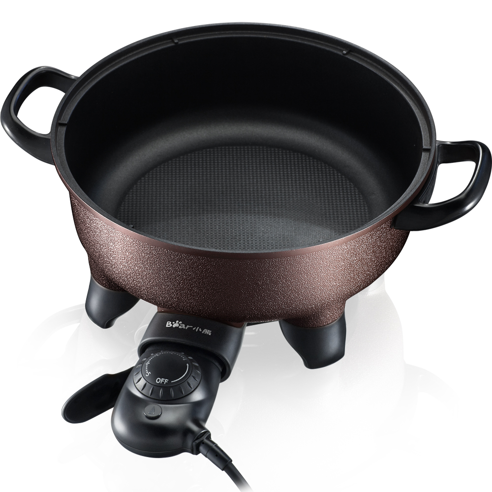 220V Bear 4L Electric Hot Pot Multi Cooker Non-stick 5 Gear Control Electric Frying Pan Pot Multifunctional Cooking Machine edtid multifunctional electric cooker mini heat pan students hot pot without oil fume nonstick frying pan special offer
