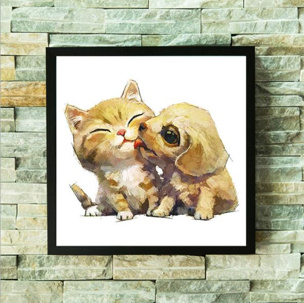 5d diy Cat and Dog Hand painted Diamond Embroidery Painting Decoration Sales Rhinestone Mosaic Oil Painting Living Room Y2134