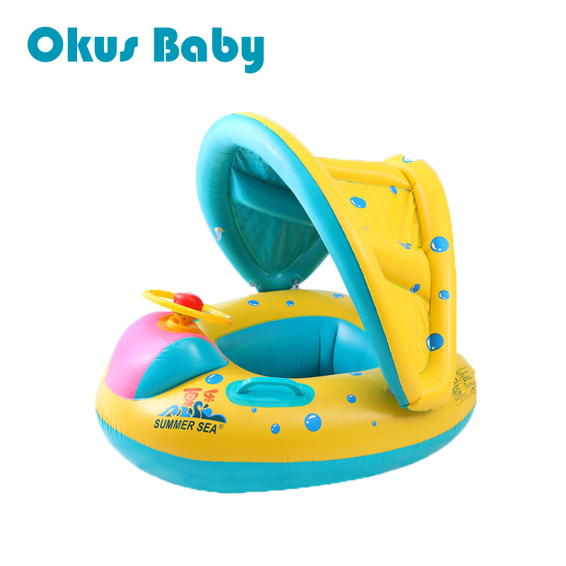 Summer Baby Water Floating Toys Inflatable Ride-ons Adjustable Sunshade Seat Boat Ring Swim Pool Rafts