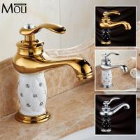 Free Shipping Luxury Soild Brass Gold Finish Bathroom Faucet Rose Gold Ceramic Diamond Crystal Body Single