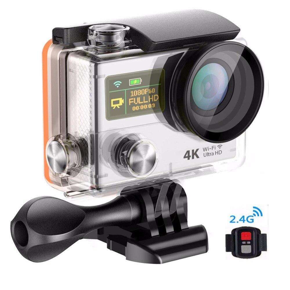 Free shipping mini WiFi 2.0 Dual LCD Helmet Cam camera waterproof sport DV H8se, Remote Controller ultra 4K sport elite se 2450