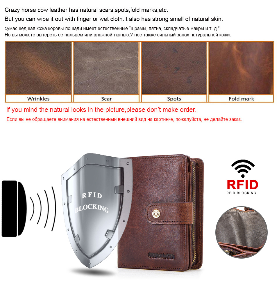 HTB103hCatfvK1RjSspfq6zzXFXau - CONTACT'S genuine leather RFID vintage wallet men with coin pocket short wallets small zipper walet with card holders man purse