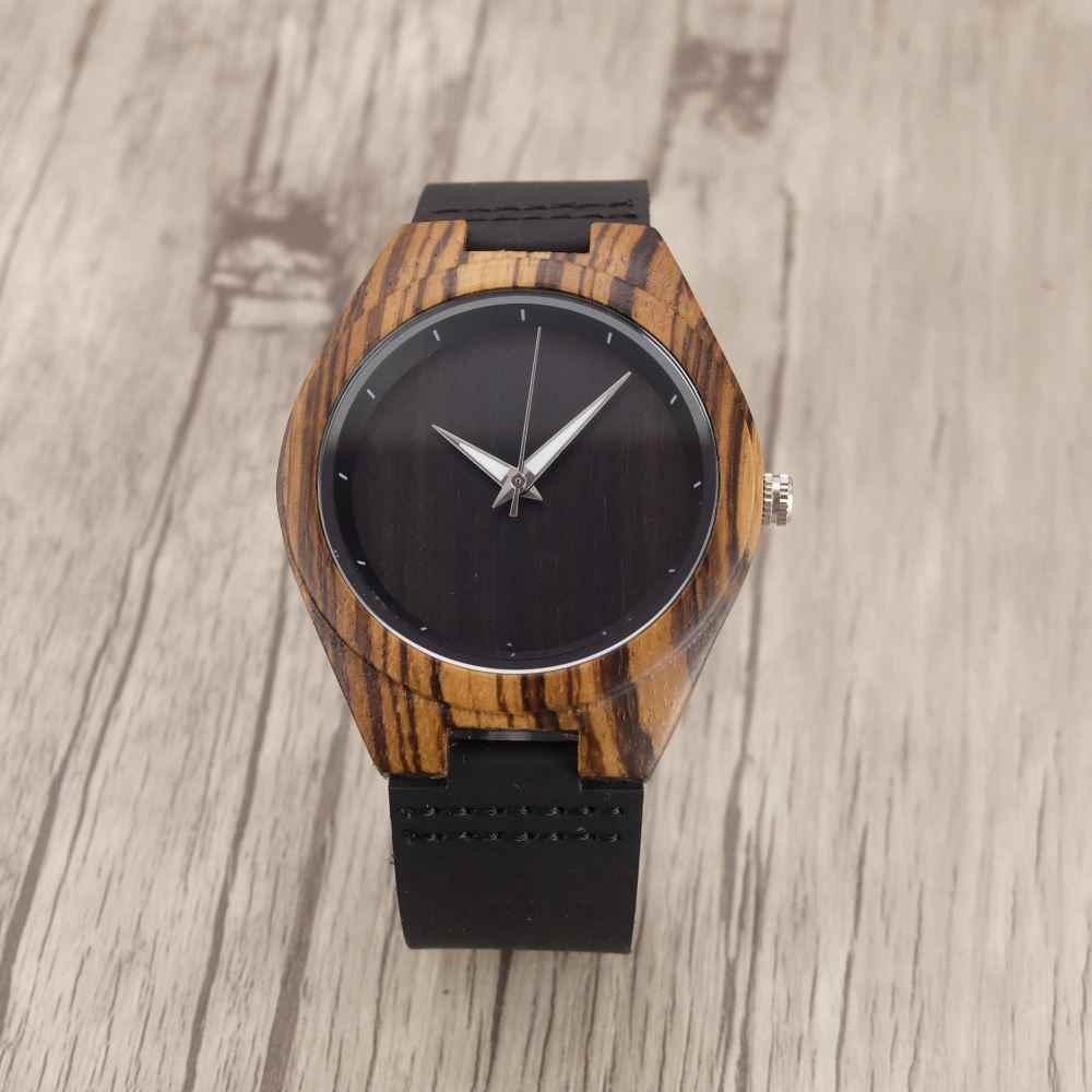 Zazac Zebra ébano relojes de madera para mujer, hombres, amantes del cuarzo, reloj con herramienta para ajustar relojes femeninos madera mujer 2018