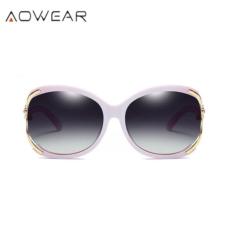 Aowear Для женщин Поляризованные овальные Защита от солнца galsses Роскошный цветок камелии женский Защита от солнца Очки цветок кристалл украшения очки Óculos De Sol - Цвет линз: Pink