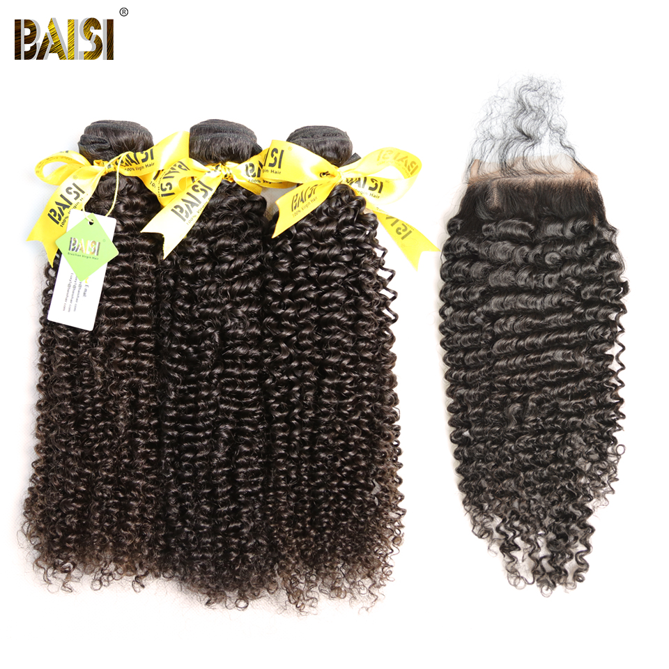 BAISI Hair Brazilian Curly Virgin Hair 100 Unprocessed Hair Extensions 3 Bundles with Lace Closure