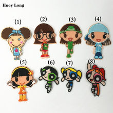 Cartoon Girl Princess and Childrens Cloth Paste patch The Powerpuff Girls Embroidery DIY garment decorate accessories