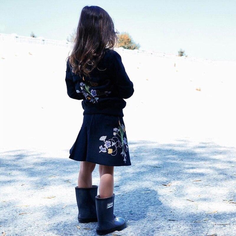 Ins * Детская одежда 2018 детская одежда осень Длинные рукава для мальчиков и девочек куртки и пальто вышитый цветок дети Бейсбольные куртки