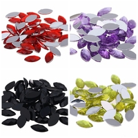 Many Colors 5x10mm 1000pcs Acrylic Rhinestones Flatback Marquise Earth Facets Glue On Beads DIY Backpack Accessories