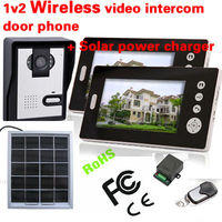 Home Solar Panel Charge Wireless Color Video Door Phone 7 Inch Monitor Photo Memory Door Bell