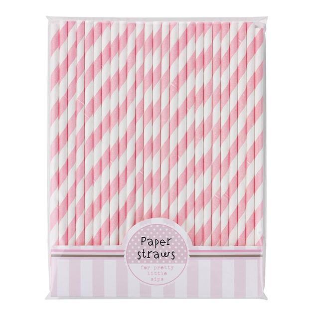 30 pcs Rosa E Branco Decorativo Triped Palhas de Papel Palhinhas Para Festa de Aniversário
