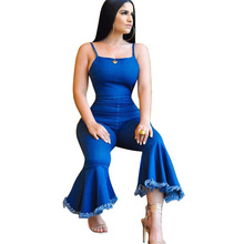 d0a87801e7ab Doyerl Womens Denim Jumpsuit Damen Sexy Spaghetti Strap Sleeveless Backless  Skinny