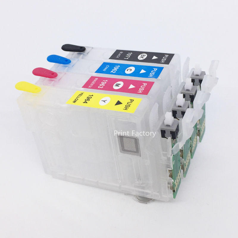 T1971 T1962-T1964 Refillable Cartridge With Reset Chip For Epson XP211 XP411 XP201 XP401 XP101 XP204 XP214 WF-2532 Without InkT1971 T1962-T1964 Refillable Cartridge With Reset Chip For Epson XP211 XP411 XP201 XP401 XP101 XP204 XP214 WF-2532 Without Ink