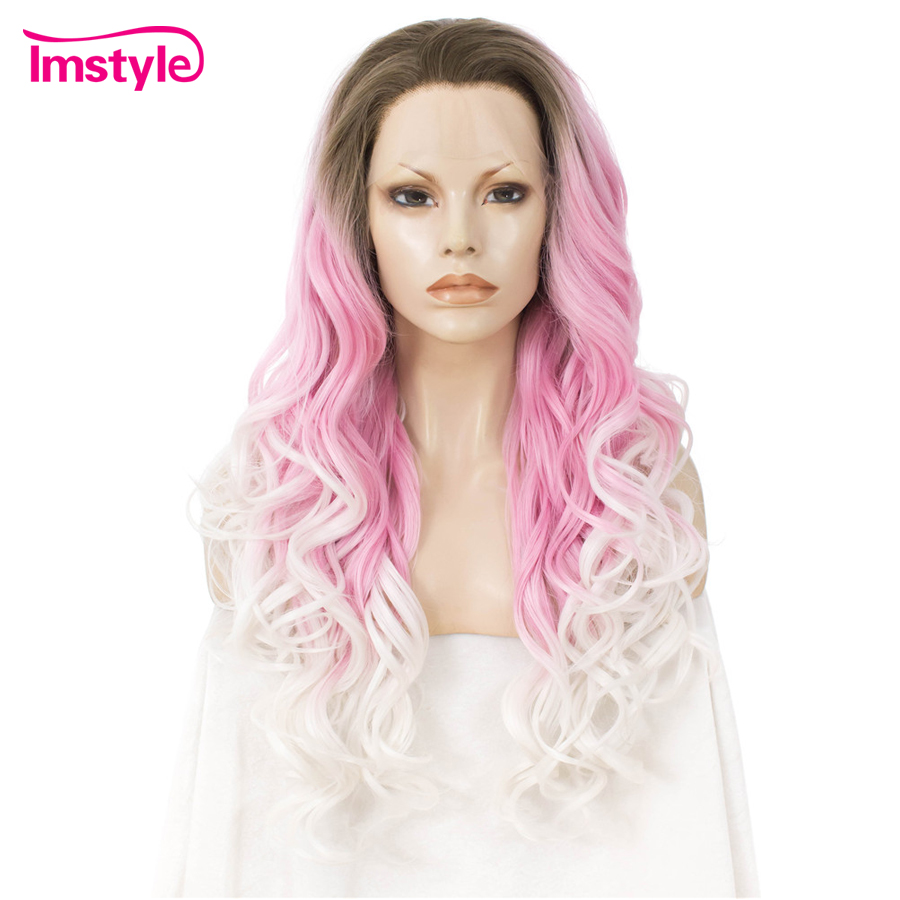 Imstyle Ombre Pink White Wig Synthetic Lace Front Wig Three Tone Natural Wavy Wigs For Women