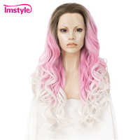 Imstyle Ombre Pink White Wig Synthetic Lace Front Wig Three Tone Natural Wavy Wigs For Women Heat Resistant Fiber Cosplay Wig