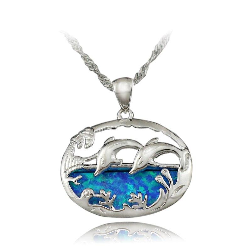 HAIMIS Freies die Kette Hübscher Delphin Synthetische Blauen Feueropal Frauen schmuck Versilbert Anhänger 1 1/8 zoll OP416 Freies Geschenk Box