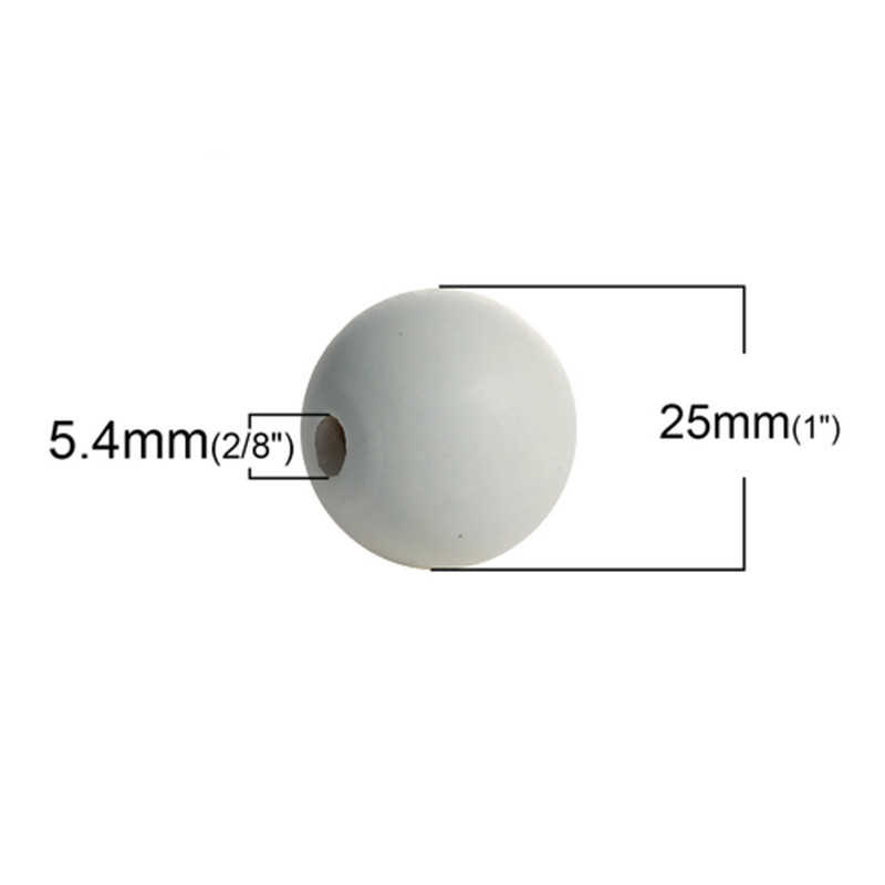 "DoreenBeads Hinoki Wood Spacer Beads Round Gray Painting DIY Jewelry Components About 25mm(1"") Dia, Hole: Approx 4.8mm, 2 PCs"