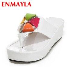 ENMAYER new Size 34-43 Fashion Women Rhinestone Sandals Platform Sandals Design Flower Cutout Wedges Summer Shoes low High Heels цены онлайн