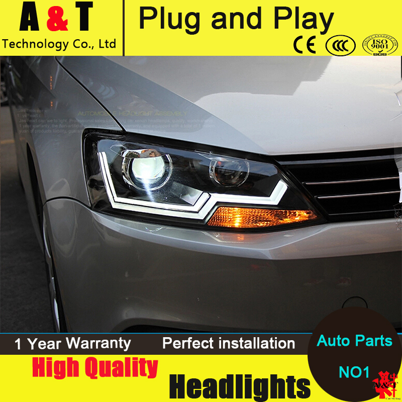 Auto Lighting Style LED Head Lamp for VW Jetta led headlight assembly 2011-2014 Cob Line H7 with hid kit 2pcs.