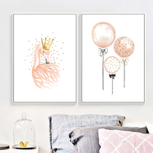 Flamingo Balloon Nursery Wall Art Canvas Painting Watercolor Nordic Posters And Prints Pictures Baby Girl Kids Room Decor